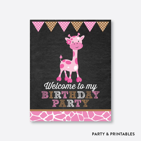 Giraffe Chalkboard Welcome Sign / Non-Personalized / Instant Download (CKB.91), party printables - Party and Printables