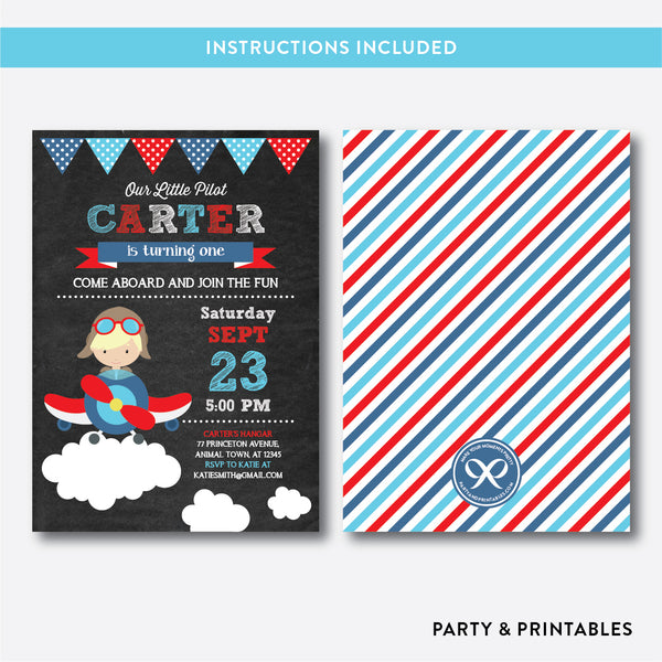Little Pilot Chalkboard Kids Birthday Invitation / Editable / Instant Download (CKB.92B)
