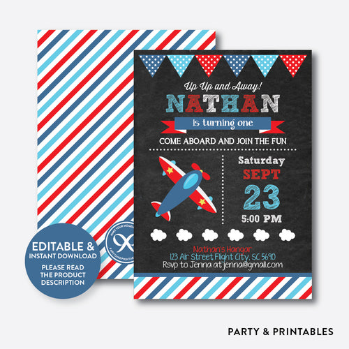 Airplane Chalkboard Kids Birthday Invitation / Editable / Instant Download (CKB.93)