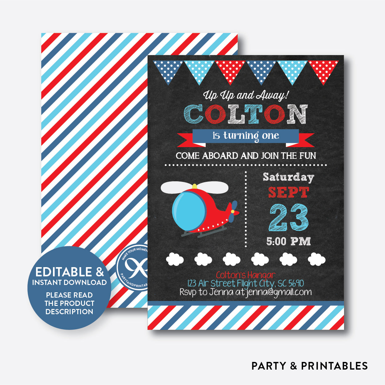 Helicopter Chalkboard Kids Birthday Invitation / Editable / Instant Download (CKB.94), invitation - Party and Printables