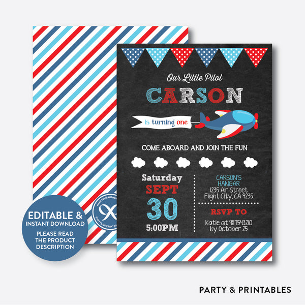 Airplane Chalkboard Kids Birthday Invitation / Editable / Instant Download (CKB.95), invitation - Party and Printables