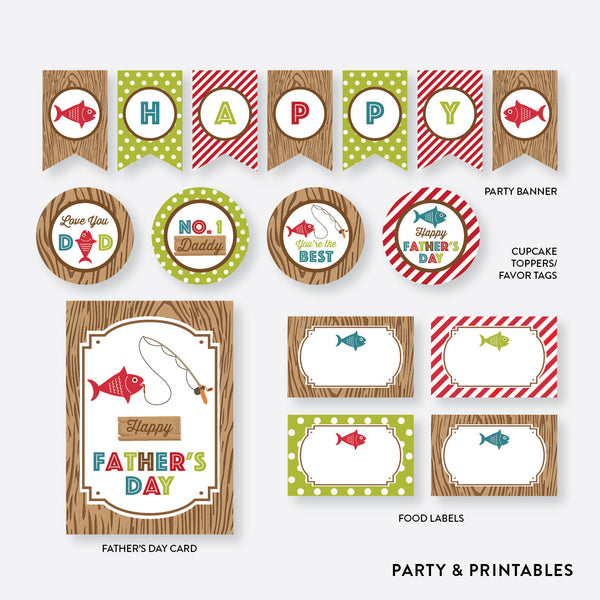 Fishing Father's Day Party Package / Non-Personalized / Instant Download (FB.01), party package - Party and Printables