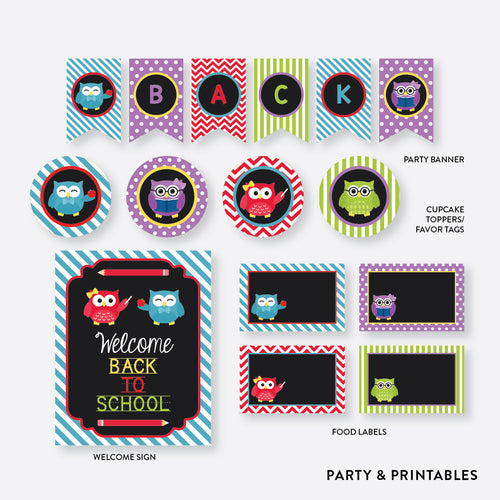 Owls Back To School Party Package / Non-Personalized / Instant Download (FB.02)