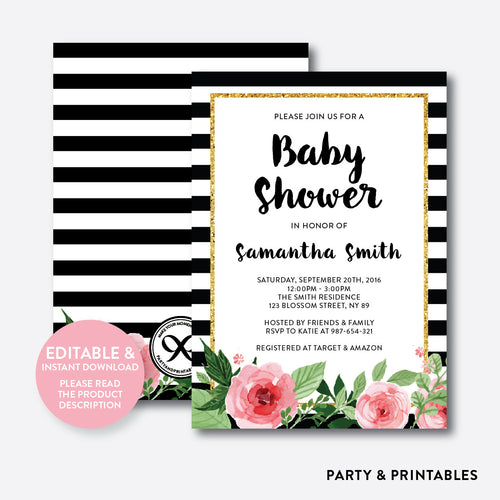 Floral Black and White Stripes Baby Shower Invitation / Editable / Instant Download (FBS.01)