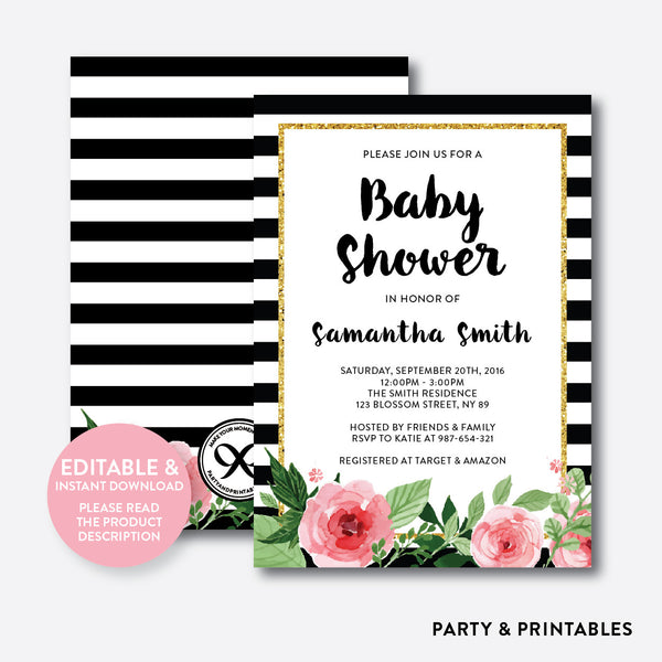 Floral Black and White Stripes Baby Shower Invitation / Editable / Instant Download (FBS.01), invitation - Party and Printables