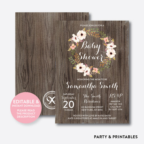 Floral Wreath Baby Shower Invitation / Editable / Instant Download (FBS.02)