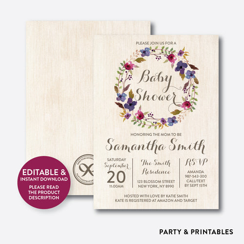 Floral Wreath Baby Shower Invitation / Editable / Instant Download (FBS.03)