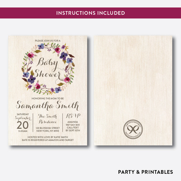 Floral Wreath Baby Shower Invitation / Editable / Instant Download (FBS.03), invitation - Party and Printables