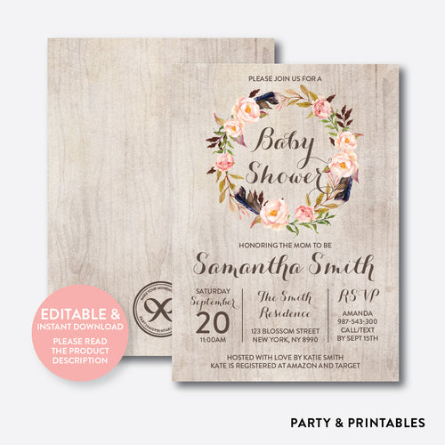 Floral Wreath Baby Shower Invitation / Editable / Instant Download (FBS.05)