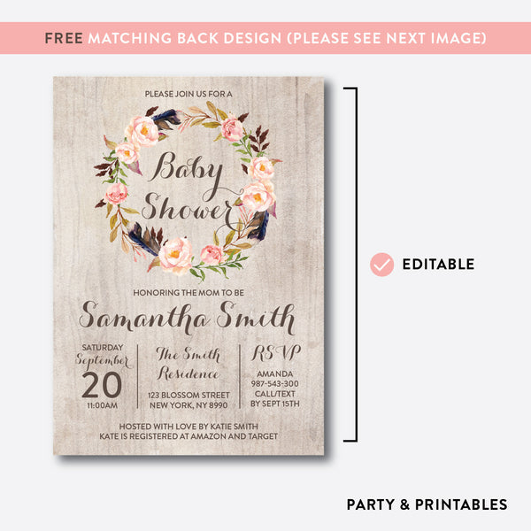 Floral Wreath Baby Shower Invitation / Editable / Instant Download (FBS.05), invitation - Party and Printables