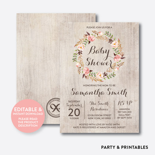 Floral Wreath Baby Shower Invitation / Editable / Instant Download (FBS.06)