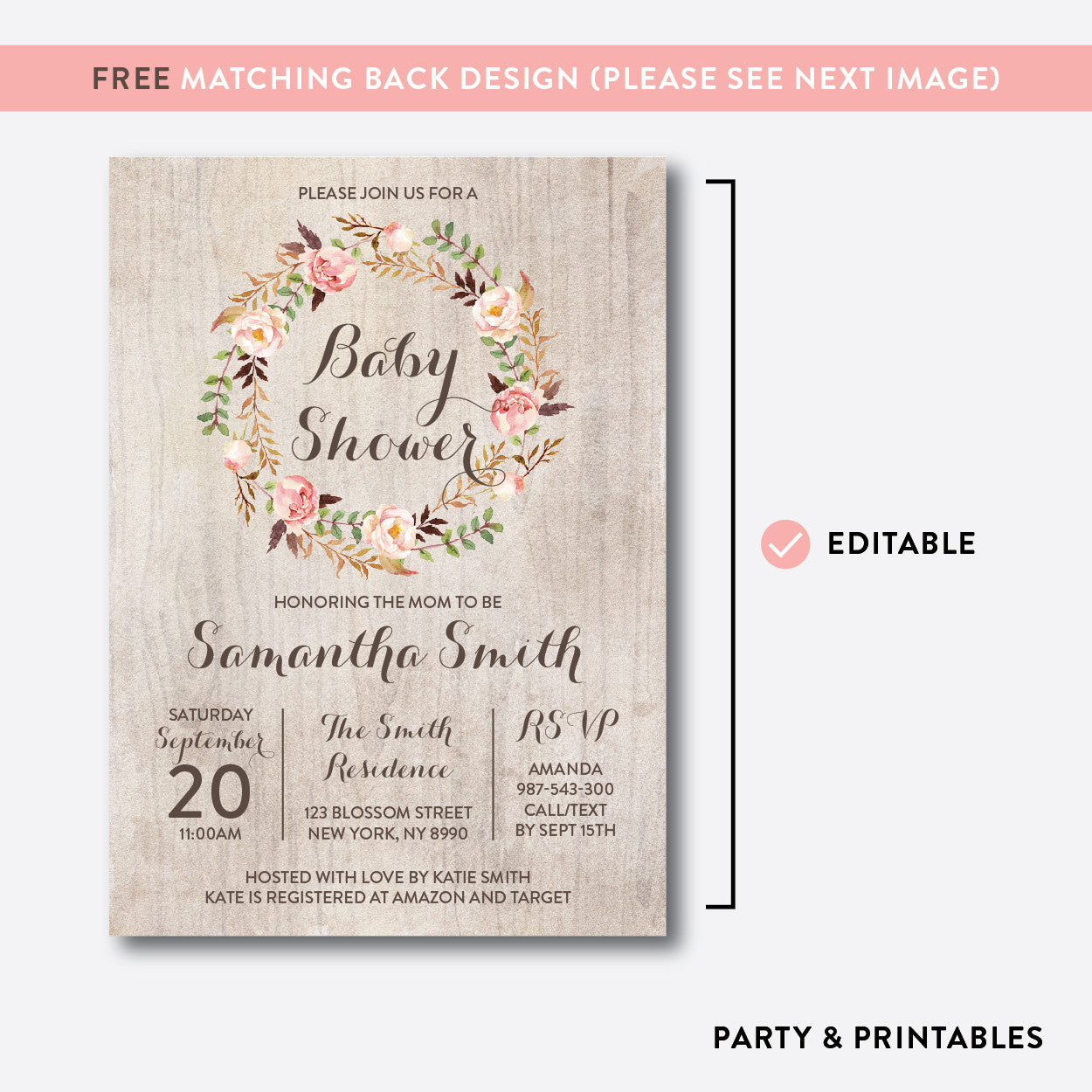 Floral Wreath Baby Shower Invitation / Editable / Instant Download (FBS.06), invitation - Party and Printables
