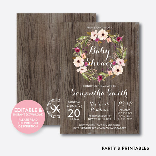 Floral Wreath Baby Shower Invitation / Editable / Instant Download (FBS.08)