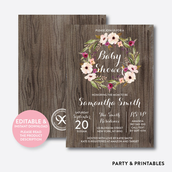 Floral Wreath Baby Shower Invitation / Editable / Instant Download (FBS.08), invitation - Party and Printables
