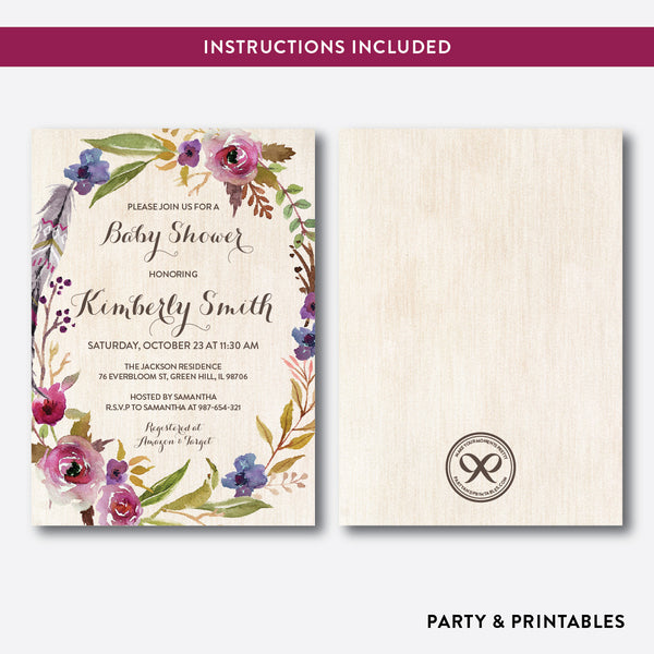 Floral Wreath Baby Shower Invitation / Editable / Instant Download (FBS.10), invitation - Party and Printables