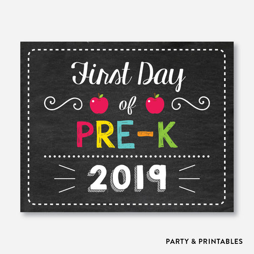 First Day of Pre K Sign / Instant Download (FDSS.02)