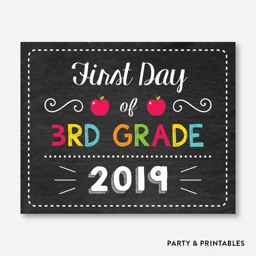 First Day of 3rd Grade Sign / Instant Download (FDSS.12)