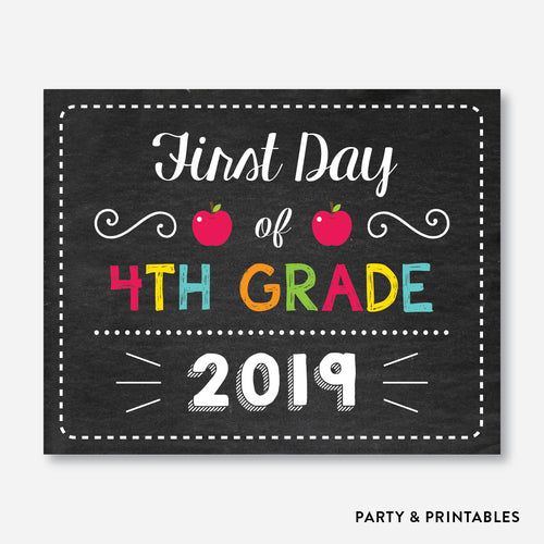 First Day of 4th Grade Sign / Instant Download (FDSS.13)