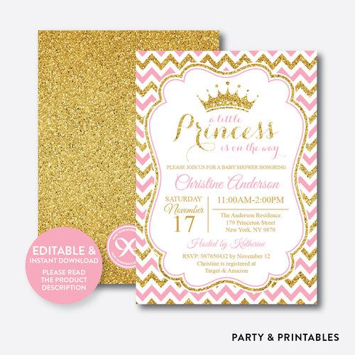 Princess Baby Shower Invitation / Editable / Instant Download (GBS.01)