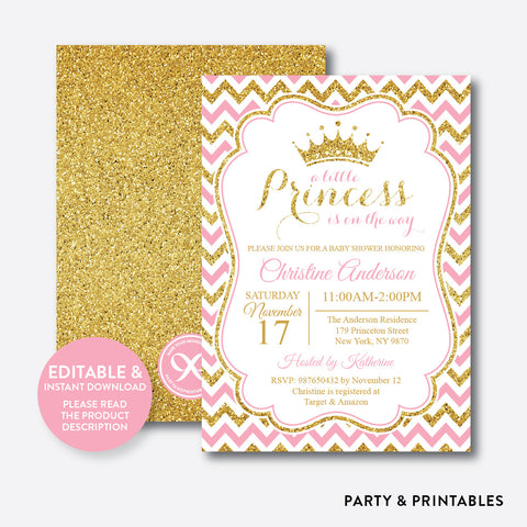 Gold Pink Princess Baby Shower Invitation / Editable / Instant Download (GBS.01)