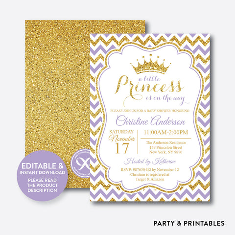 Gold Purple Princess Baby Shower Invitation / Editable / Instant Download (GBS.02)