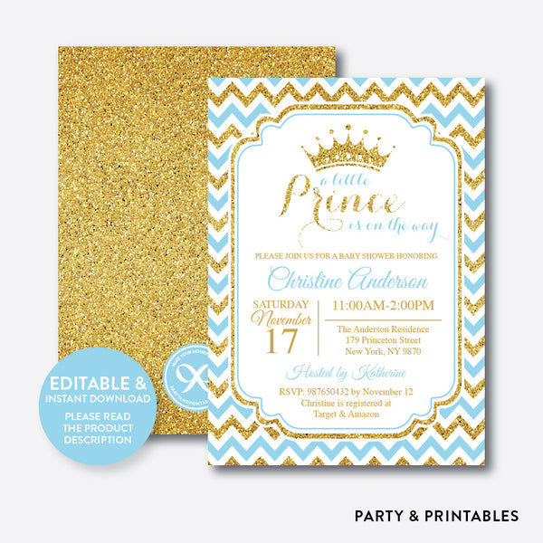 Prince Baby Shower Invitation / Editable / Instant Download (GBS.03), invitation - Party and Printables