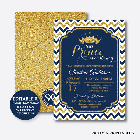 Gold Navy Prince Baby Shower Invitation / Editable / Instant Download (GBS.04)