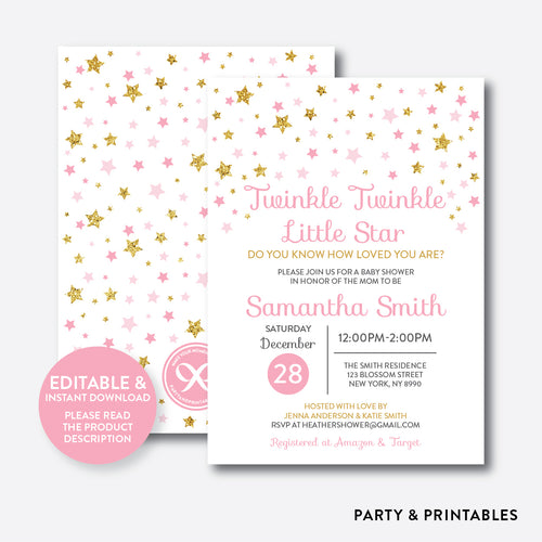 Twinkle Twinkle Little Star Baby Shower Invitation / Editable / Instant Download (GBS.05)