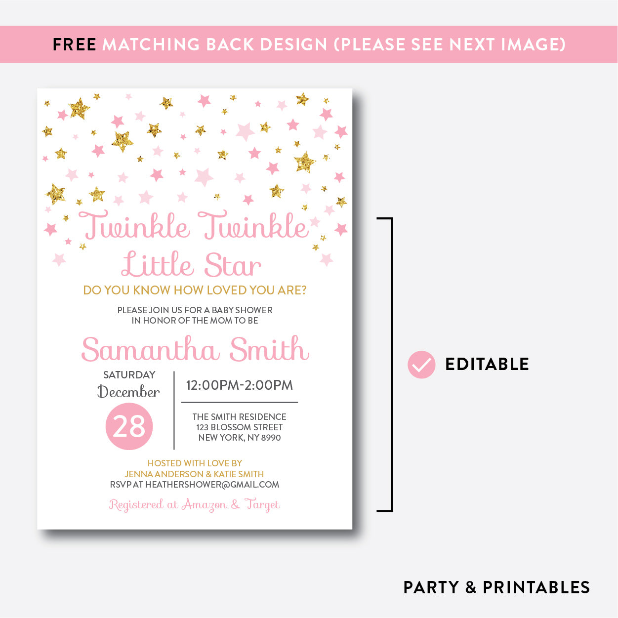 photograph relating to Free Printable Twinkle Twinkle Little Star Baby Shower Invitations identified as Twinkle Twinkle Minor Star Little one Shower Invitation / Editable / Instantaneous Obtain (GBS.05)