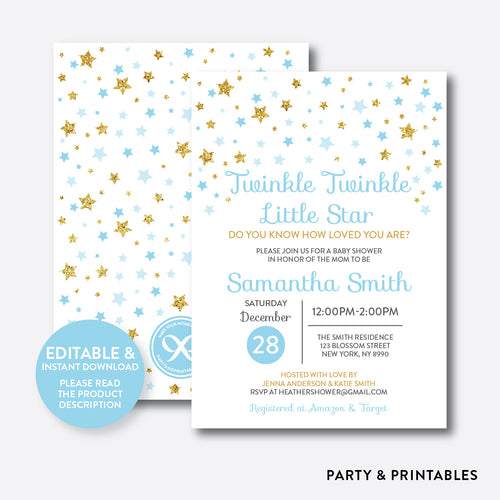 Twinkle Twinkle Little Star Baby Shower Invitation / Editable / Instant Download (GBS.06)