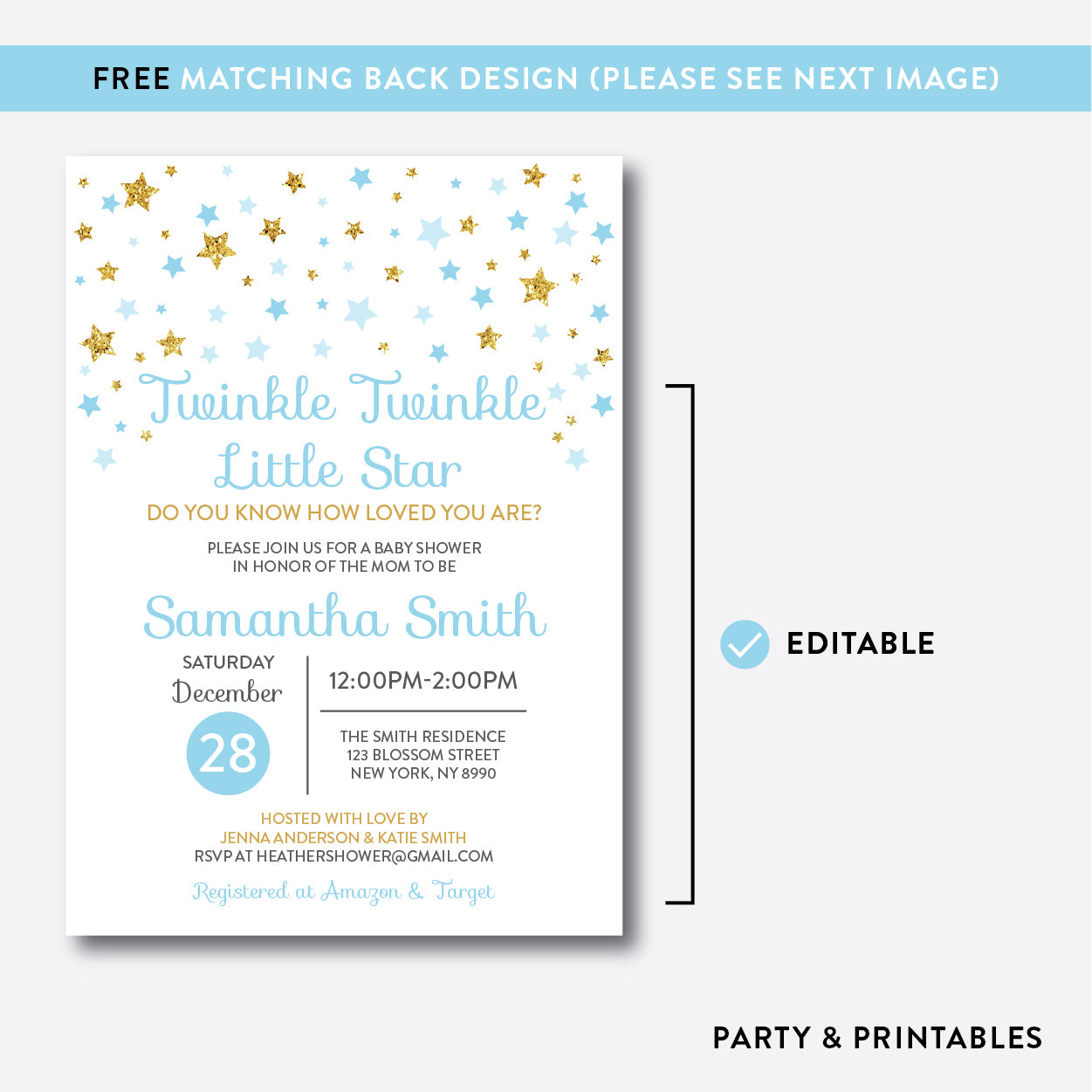Twinkle Twinkle Little Star Baby Shower Invitation / Editable / Instant Download (GBS.06), invitation - Party and Printables