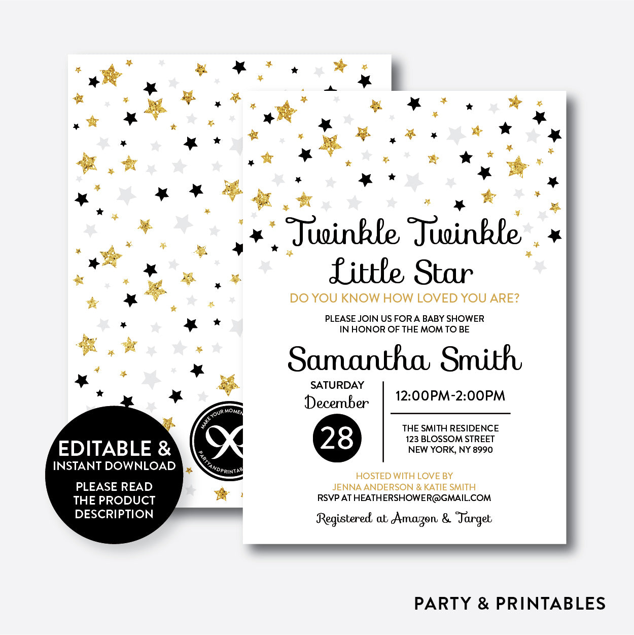 Twinkle Twinkle Little Star Baby Shower Invitation Editable