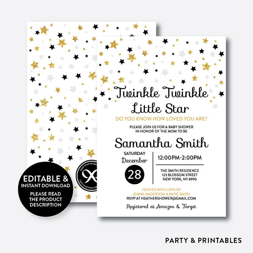 Twinkle Twinkle Little Star Baby Shower Invitation / Editable / Instant Download (GBS.07)