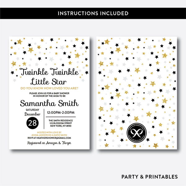Twinkle Twinkle Little Star Baby Shower Invitation / Editable / Instant Download (GBS.07), invitation - Party and Printables