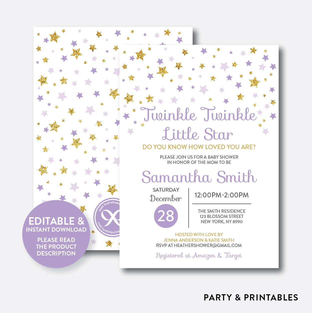 graphic about Free Printable Twinkle Twinkle Little Star Baby Shower Invitations called Twinkle Twinkle Tiny Star Kid Shower Invitation / Editable / Quick Down load (GBS.08)