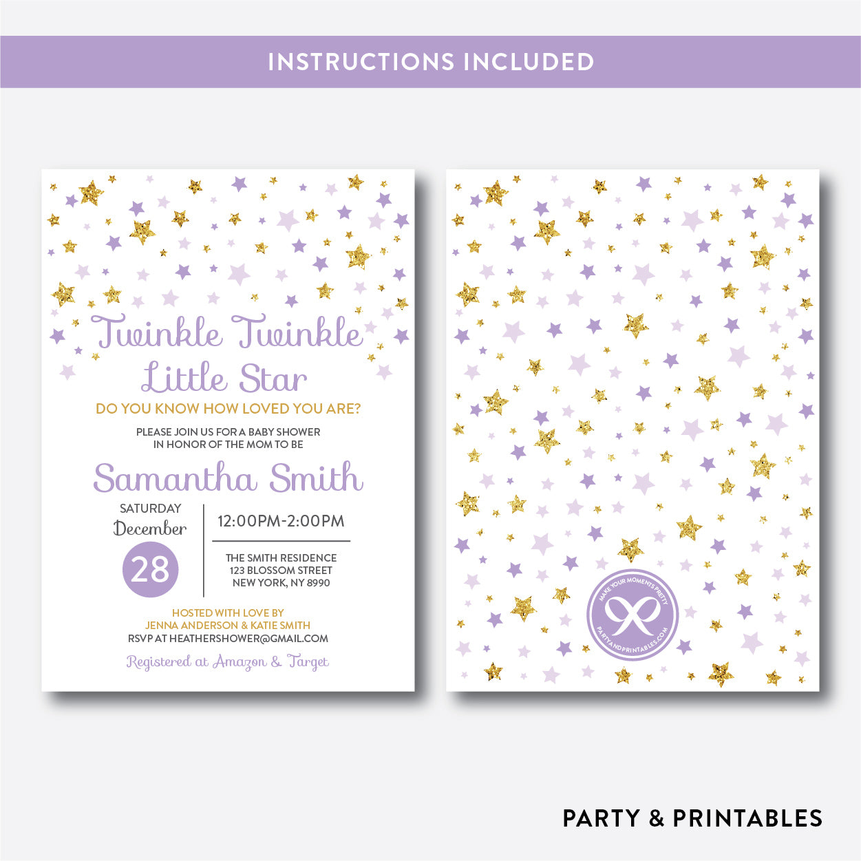 Twinkle Twinkle Little Star Baby Shower Invitation / Editable / Instant Download (GBS.08), invitation - Party and Printables