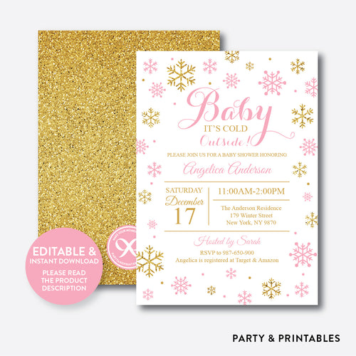 Gold Pink Baby It's Cold Outside Baby Shower Invitation / Editable / Instant Download (GBS.09)