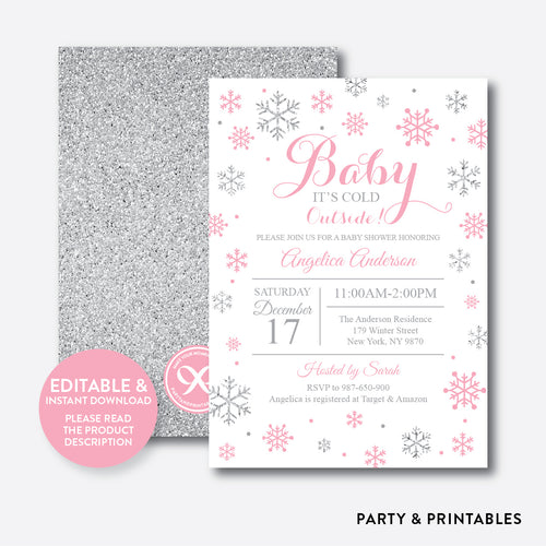 Silver Pink Baby It's Cold Outside Baby Shower Invitation / Editable / Instant Download (GBS.10)