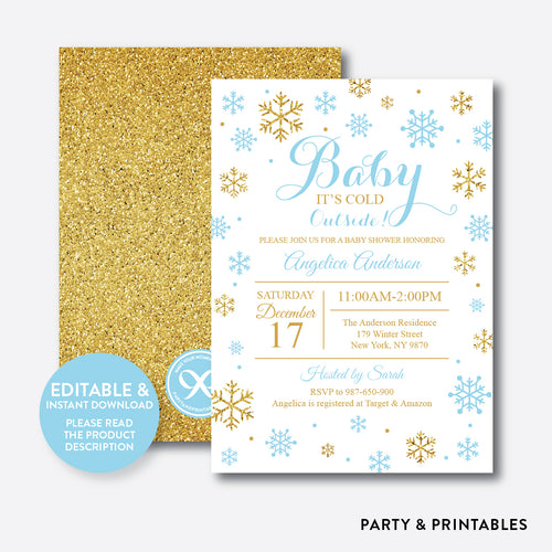 Gold Blue Baby It's Cold Outside Baby Shower Invitation / Editable / Instant Download (GBS.11)