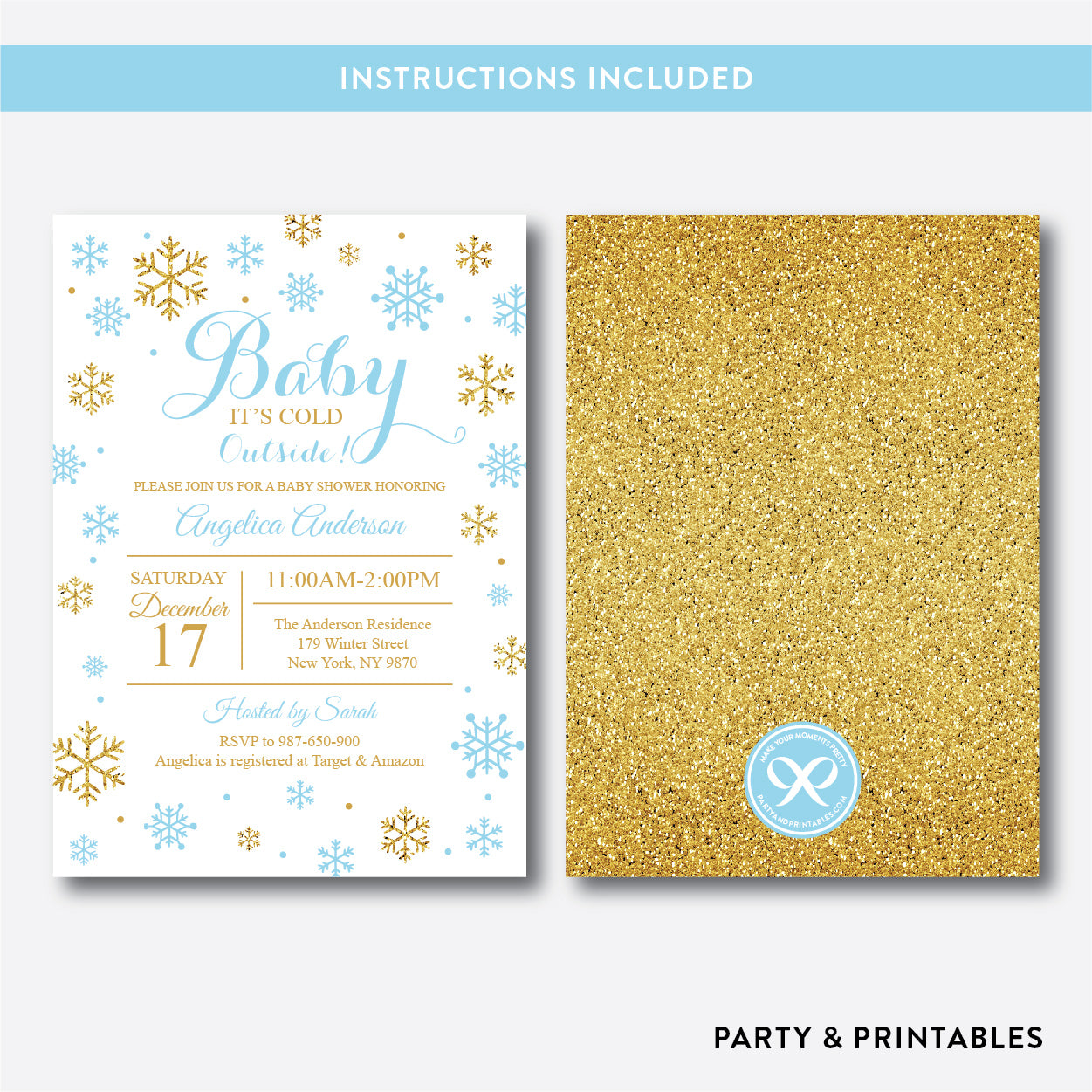 Baby It Cold Outside Baby Shower Invitation / Editable / Instant Download (GBS.11), invitation - Party and Printables