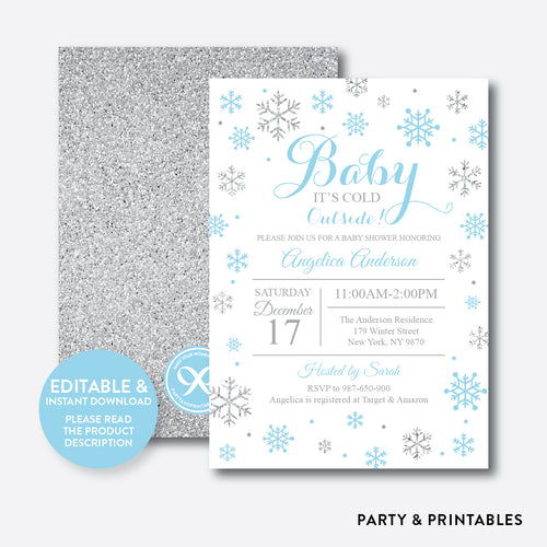 Silver Blue Baby It's Cold Outside Baby Shower Invitation / Editable / Instant Download (GBS.12)