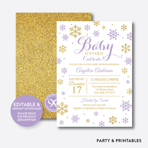Gold Purple Baby It's Cold Outside Baby Shower Invitation / Editable / Instant Download (GBS.13)