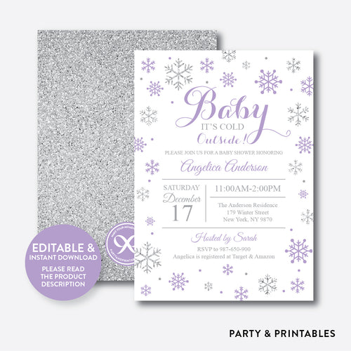 Silver Purple Baby It's Cold Outside Baby Shower Invitation / Editable / Instant Download (GBS.14)