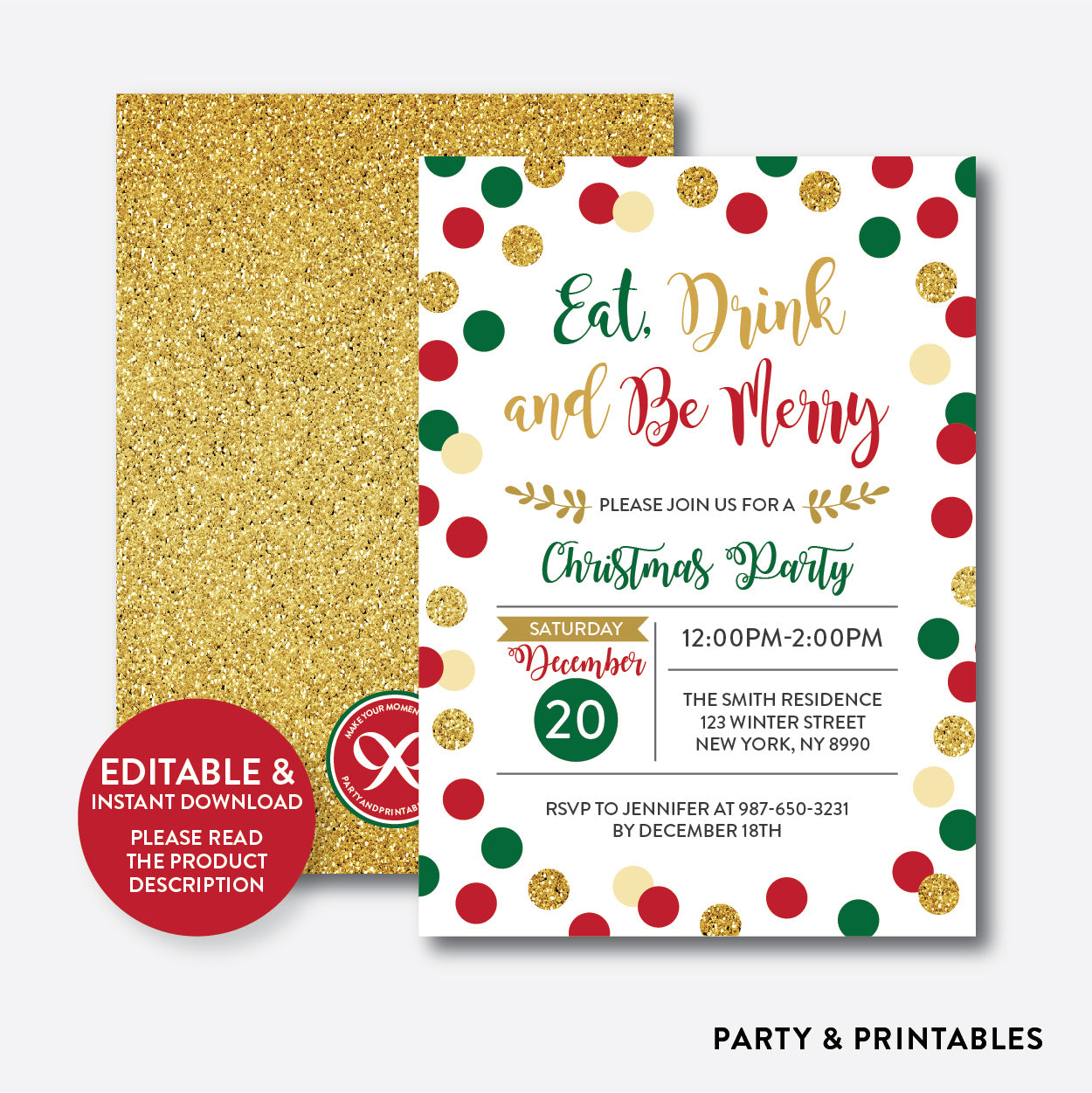 Christmas Invitation.Eat Drink And Be Merry Christmas Invitation Editable Instant Download Ghi 01