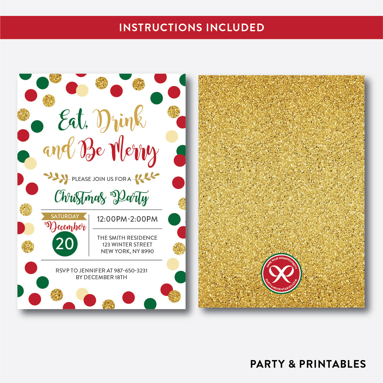 Eat, Drink and Be Merry Christmas Invitation / Editable / Instant Download (GHI.01), invitation - Party and Printables