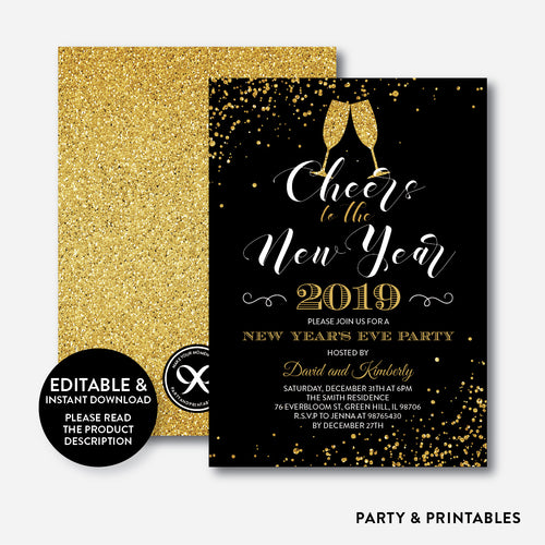 cheers to the new year invitation editable instant download ghi03