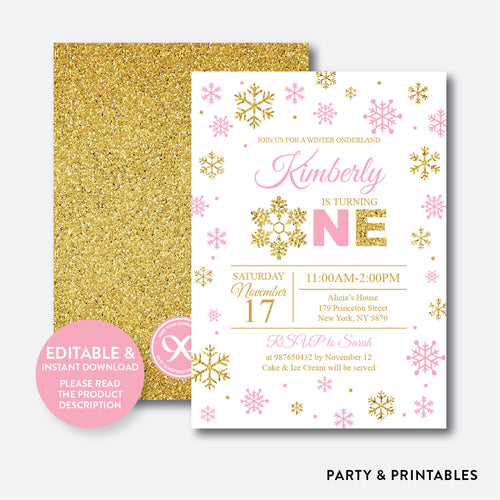 Winter Onederland Glitter 1st Birthday Invitation / Editable / Instant Download (GKB.01B)