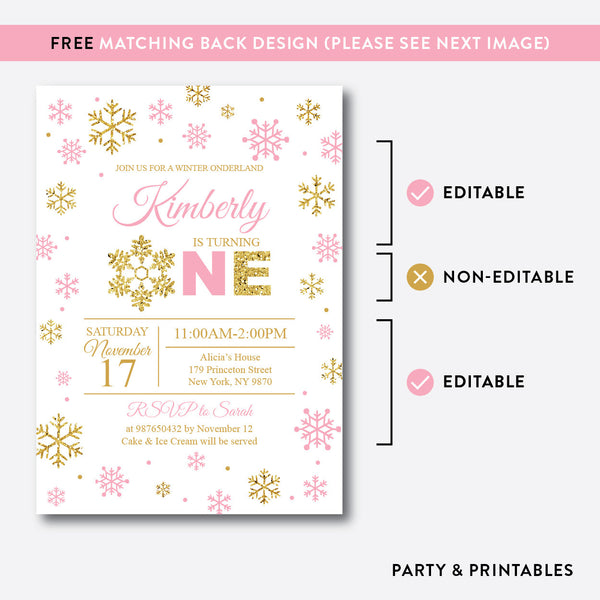 Winter Onederland Glitter 1st Birthday Invitation / Editable / Instant Download (GKB.01B), invitation - Party and Printables