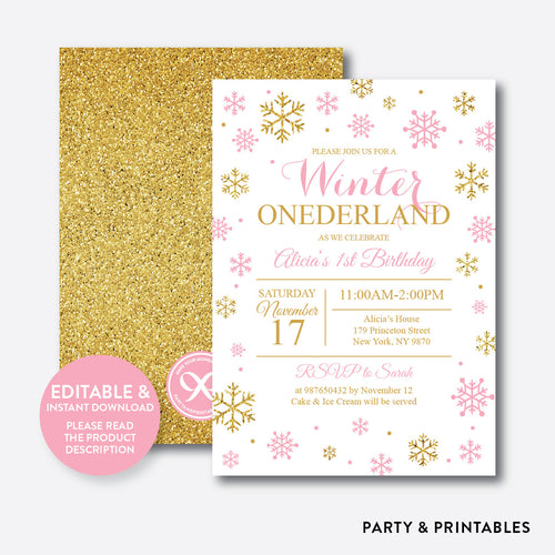 Winter Onederland Glitter Kids Birthday Invitation / Editable / Instant Download (GKB.01)