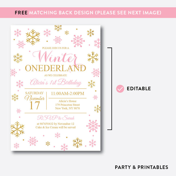 Winter Onederland Glitter Kids Birthday Invitation / Editable / Instant Download (GKB.01), invitation - Party and Printables